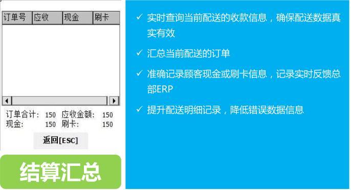 一号店配送PDA终端结算汇总功能